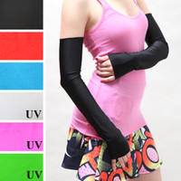 Black Nylon Long Arm Warmers