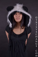 Unisex Vegan White Fur Panda Costume Hat