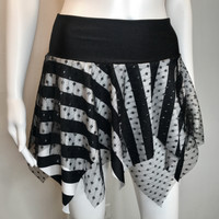 Black Striped Glitter Fishnet Festival Skirt