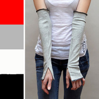 Grey Cotton Flared Arm Warmers