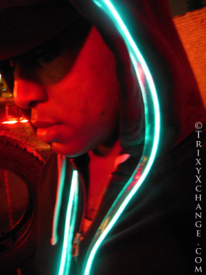 Black Hoodie w/Aqua EL Wire.