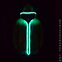 SALE! Unisex Green Light Up Hoodie - Large