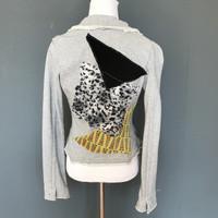 Grey Terry Cloth Leopard Print Patchwork Blazer - Small