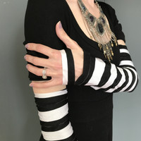 SALE - Black and White Striped Cut Out Arm Warmers