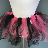 Handmade Long Black & Pink Tutu Skirt - XS