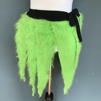 Neon Green Monster Fur Wrap Skirt - One Size