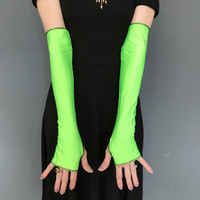 SALE - Shiny Green Long Gloves