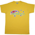 Australia design t-shirt with a mix of green & gold and the Australia flag - made in Australia