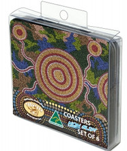 Great Australian made drink coasters with an authentic Aboriginal art design.