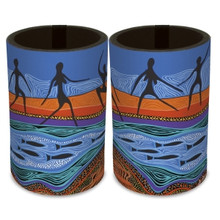 A great Australian made souvenir drink cooler, stubby holder with an Aboriginal art design.