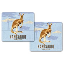 Two kangaroo drink coasters, great Australian made souvenir.