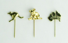 Gold plated stick pins - one each of flying kangaroo, koala on branch, and map of Australia