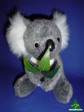 Australian made 19cm koala plush toy with leaves
