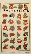 Aussie Animals, Australian made tea towel