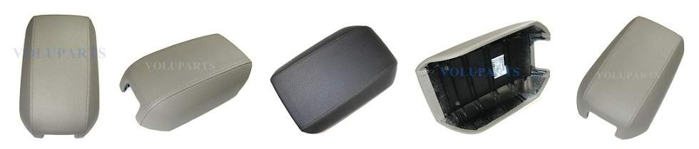Picture showing tan & dark grey XC90 armrests taken from multiple angles.