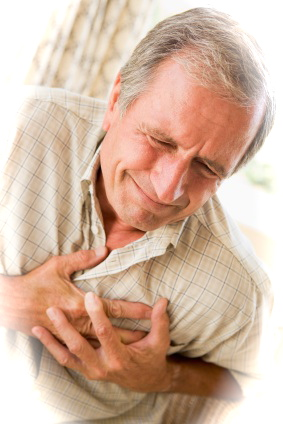 Photo of a man with chest pains