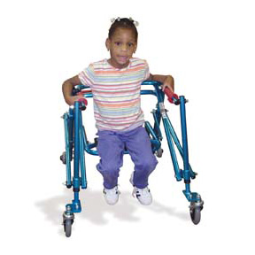 Photo of a girl in a walker