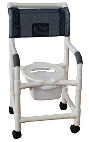 MJM Shower Chair with Deluxe Elongated Open Front Seat and Optional Square Pail