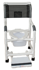 MJM Shower Chair with Deluxe Elongated Open Front Seat, Square Pail, and Sliding Footrest