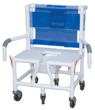 """MJM Bariatric 26"""" Shower Chair with Full Support Seat, Dual Drop Arm and Square Pail"""