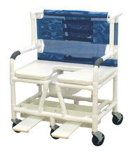 """MJM Bariatric 30"""" Shower Chair with Elongated Open Front Soft Seat and Sliding Footrest"""