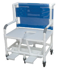 """MJM Bariatric 30"""" Shower Chair with Full Support Seat, Sliding Footrest, and Square Pail"""