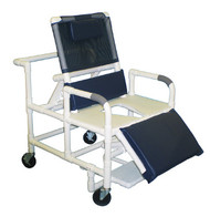 """MJM Bariatric 26"""" Reclining Shower Chair with Full Support Seat, Sliding Footrest, and Square Pail"""