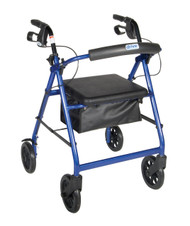 "Drive 4-Wheeled Rollator Walker with Fold Up Removable Back Support and Padded Seat - 8"" Wheels, Blue Flame"