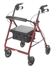 "Drive 4-Wheeled Rollator Walker with Fold Up Removable Back Support and Padded Seat - 6"" Wheels Red"