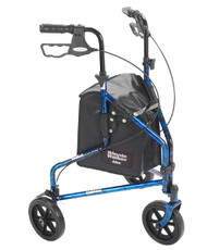 Drive 3-Wheeled Rollator Walker with Basket Tray and Pouch - Flame Blue