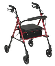 "Drive Adjustable Height 4-Wheeled Rollator Walker - 6"" Wheels, Red"