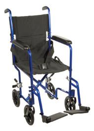 """Drive Lightweight Transport Wheelchair - 19"""", Blue"""