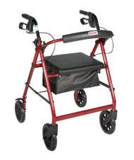 "Drive 4-Wheeled Rollator Walker with Fold Up Removable Back Support and Padded Seat - 8"" Wheels, Red Flame"