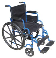 "Drive Blue Streak Manual Wheelchair - 18"" with Flip Back Desk Arms and Swing-away, Footrests - Blue"