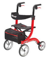 Drive Nitro Euro Style 4-Wheeled Rollator Walker - Red