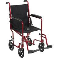 "Drive Lightweight Transport Wheelchair- 19"" Red"