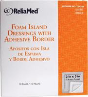 "ReliaMed Foam Island Dressing with Adhesive Border, Sterile 3"" x 3"", 10/Box"