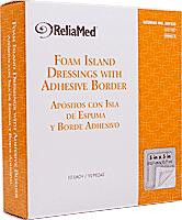 "ReliaMed Foam Island Dressing with Adhesive Border, Sterile, 5"" x 5"", 10/Box"