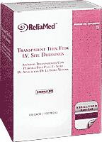"ReliaMed Transparent Thin Film I.V. Site Dressing, Sterile, 2-3/8"" x 2-3/4"", 100/Box"