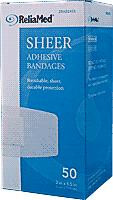 "ReliaMed Adhesive Bandage, 2"" X 4.5"", Sheer Plastic, Sterile, 50/Box"