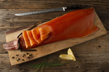 The Old Smokehouse - Cumbrian Rope Hung Smoked Salmon - 1kg Long Sliced Side