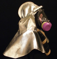 Kevlar® knit around face of our aluminized hood fits snugly around a respirator. Hood should be worn with a radiant heat reflective shield