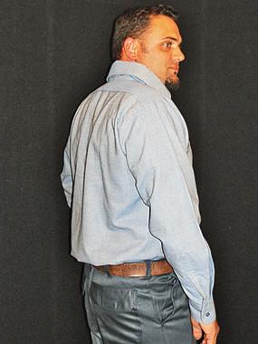 Long sleeve button down fire resistant work shirt.