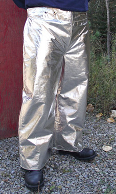 Aluminized Carbon Kevlar® or Aluminized Leather molten metal splash protection pants are lightweight and comfortable, and have heavy duty hook & loop closures at leg bottoms and buttons for suspenders.