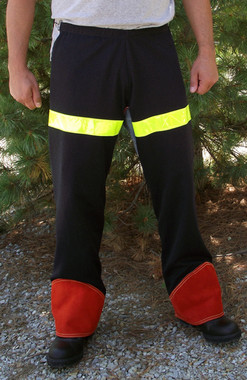 24oz. Wool Chaps with reflective and Chrome Leather are naturally flame resistant and provide additional visibility when working.