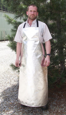 "Aluminized Leather or Aluminized Carbon Kevlar® 54"" full length FR apron helps protect agianst high heat, molten metal splash, and high temperature steam."