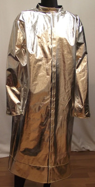 "Our 45"" aluminized mid-length coat is available in Aluminized Carbon Kevlar®, Aluminized Rayon, Aluminized 3B, and Aluminized Leather."