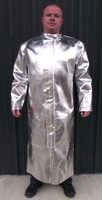 Aluminized Leather (AL) Full Length Coat with APBI Back and Stainless Steel Yoke has a  Storm flap front with heavy duty hook-and-loop closure to protect against molten metal splash.