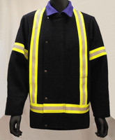 Fire resistant wool coat with reflective on front, back, and arms.