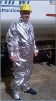 Our cryogenic coveralls are made from fire resistant 3B Aluminized fabric and are insulated with a FR Nomex® quilted liner.    9.5 oz. Aluminized 3B fabric  8 oz. E89 DuPont™ Nomex® quilted lining  Field tested by Northwest Natural Gas Company with excellent results (call us for detailed information)  The outer surface of this garment is highly reflective